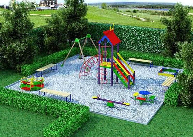 Оформление кустарниками детской площадки